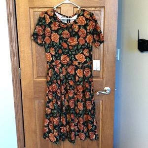 Lularoe Lovely Fall Rust Colored Roses Amelia NWT